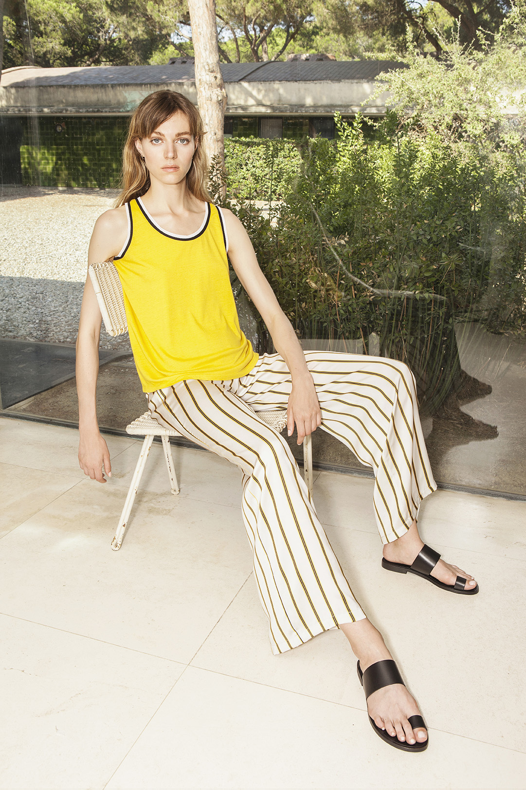 Strappy t-shirt combined with tricot - 21335,  Trousers - 21310